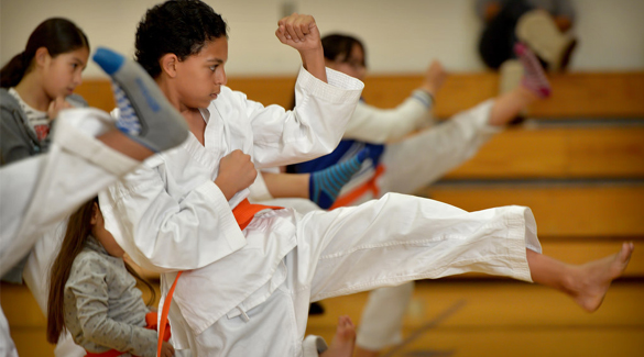 children training karate class
